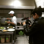 Filming chifa cuisine being prepared.